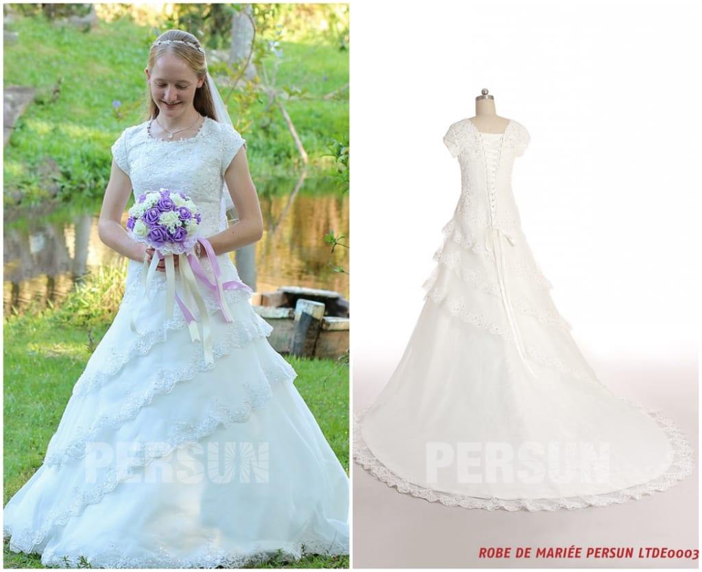 robe mariée princesse dentelle col carré avec manches & traîne