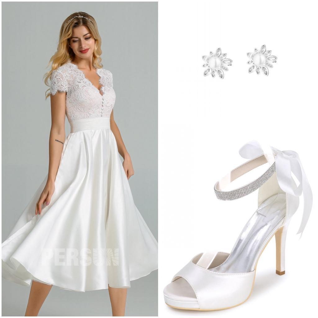 accessoires pour robe mariée midi col v