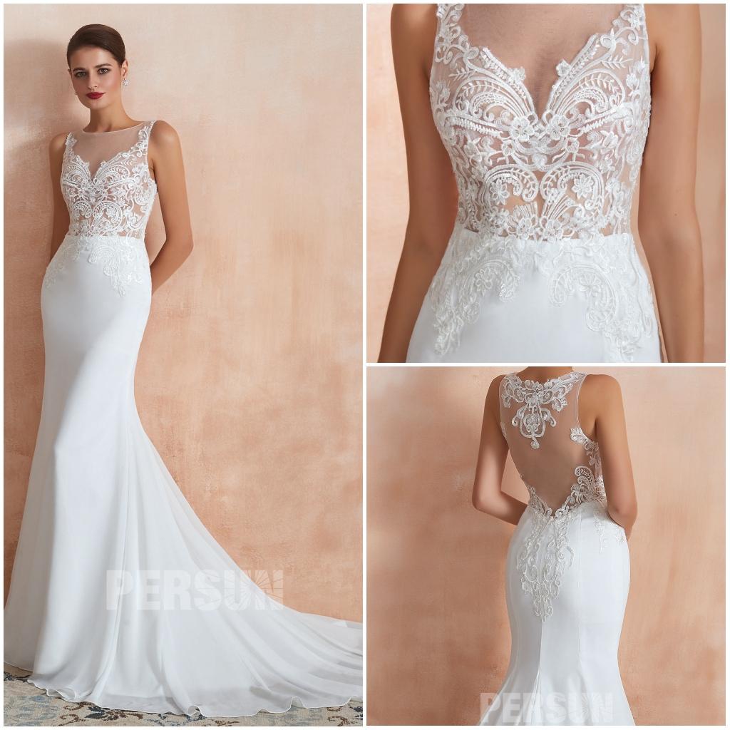 robe de mariée sirène 2020 bustier transparent appliqué de guipure
