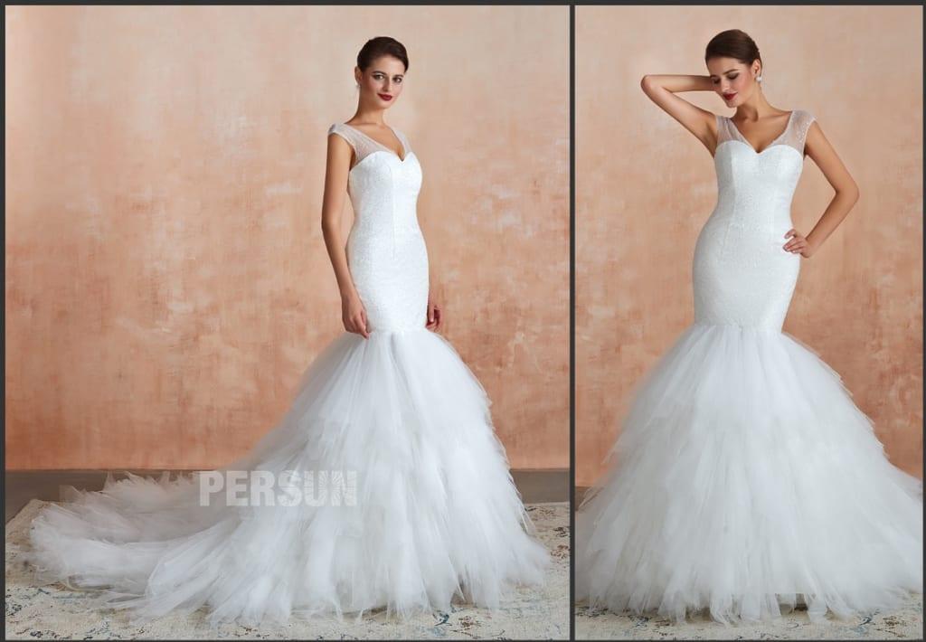 robe de mariée sirène bustier pailleté col v à jupe froufrou