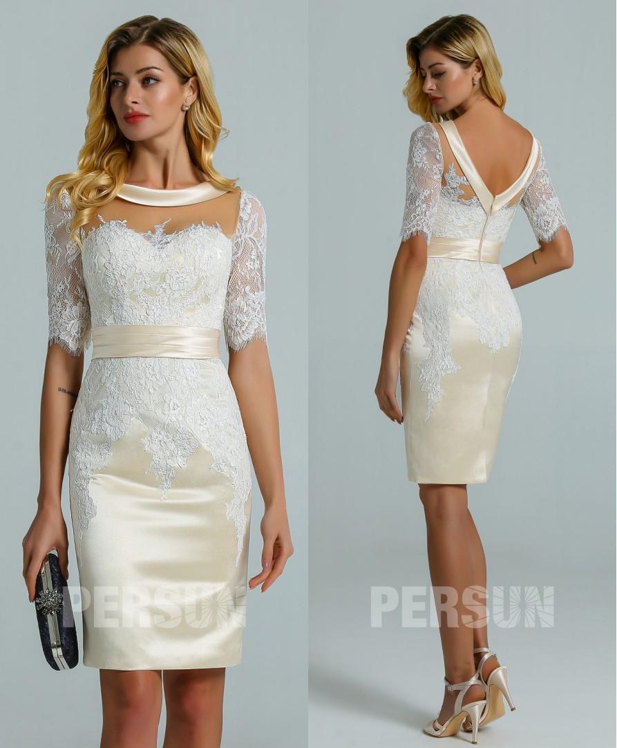 robe mariée courte en satin champagne appliquée de dentelle avec manches