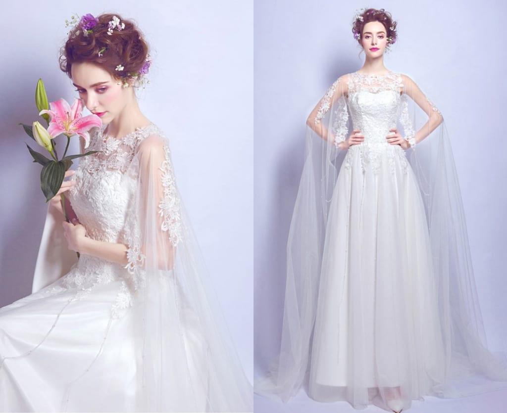 chic robe de mariée ligne A longue au ras du sol dentelle avec cape dentelle appliquée
