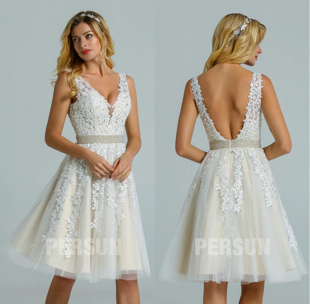 robe de mariée courte dentelle vintage col v dos nu