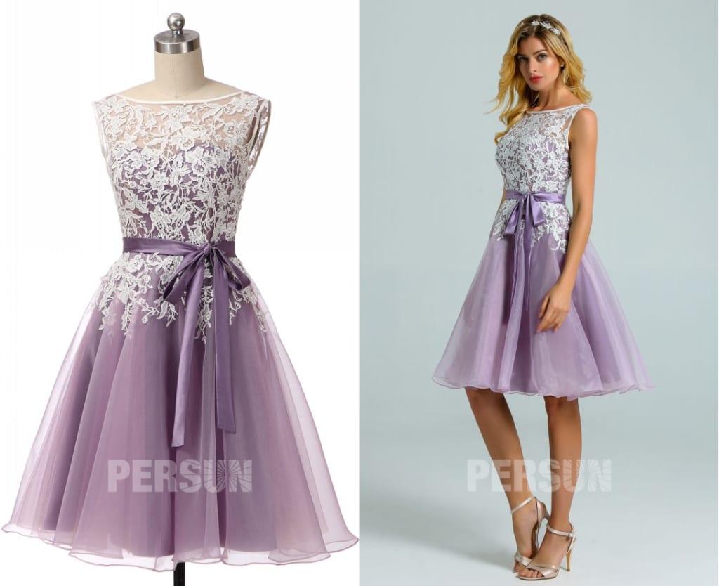 robe soirée courte parme organza appliquée de dentelle guipure jupe ample