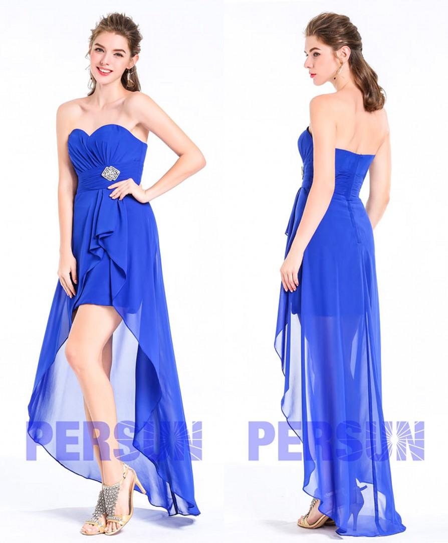robe soirée bleuet courte devant longue derrière bustier coeur pour mariage invité