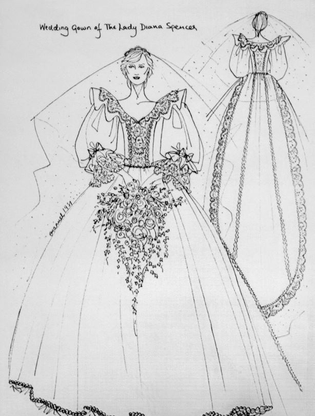 croquis de robe mariée de Diana