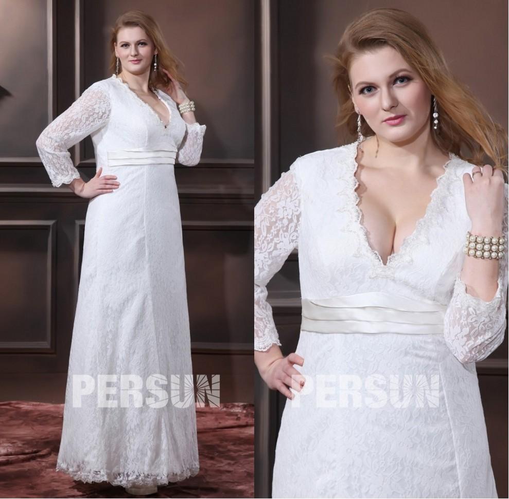 robe mariée grande taille simple dentelle col v manche longue