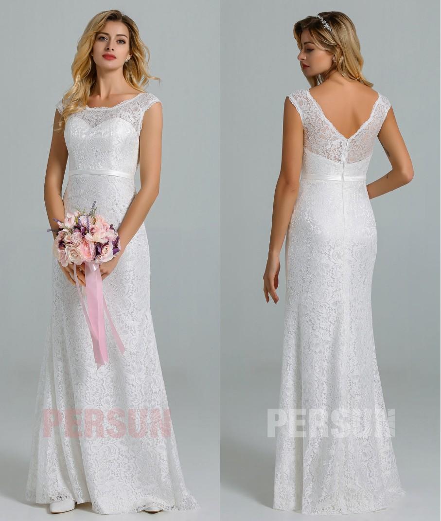 robe mariée fourreau dentelle col illusion à dos échancré