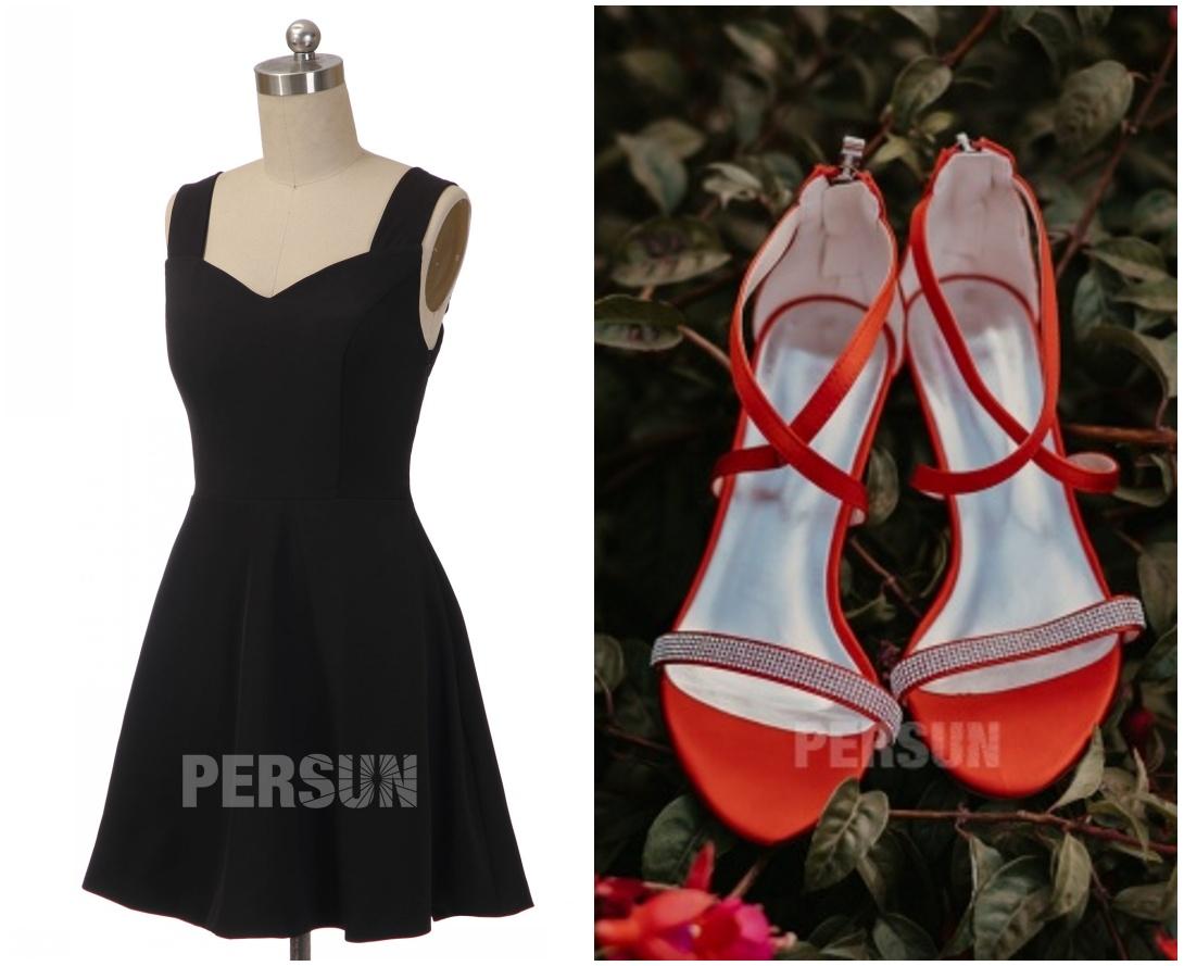 comment combiner petite robe noire avec chaussure rouge