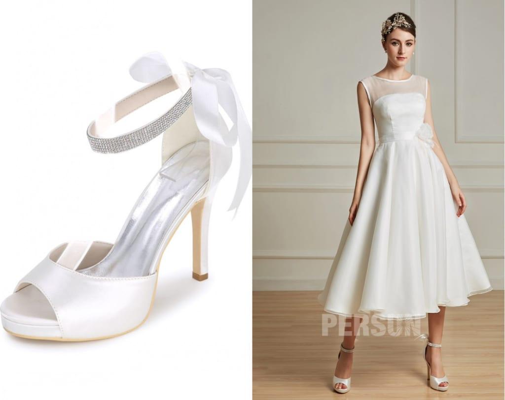 sandale blanche avec plate-forme bout ouvert, Robe de mariée civil en organza mi longue taille fleurie de plume