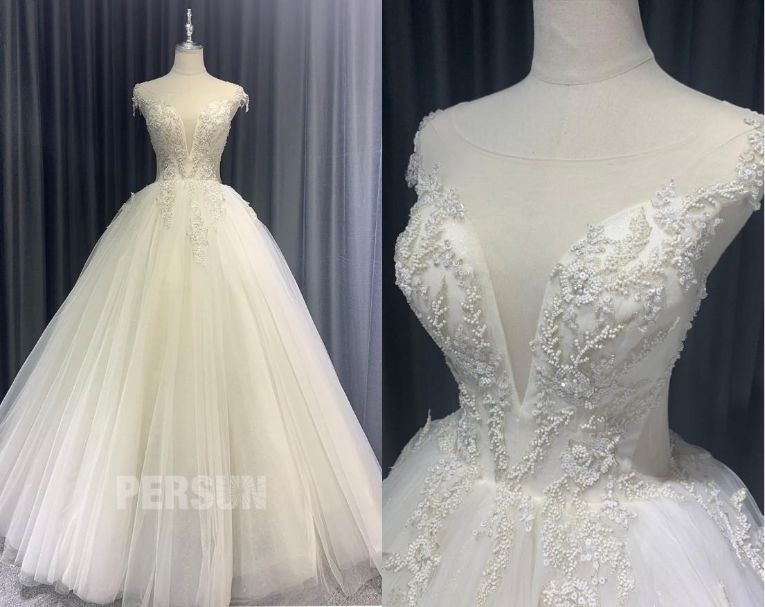 robe mariée princesse col v plongeant brodé de perlettes