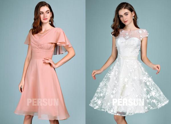 robe courte pour la réception de mariage