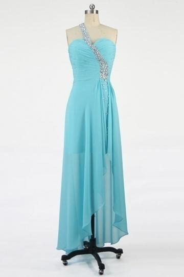 robe bucolique bleu asymétique sans manche