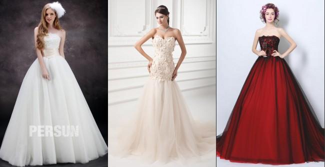 robe de mariée balnche / ivoile/ rouge