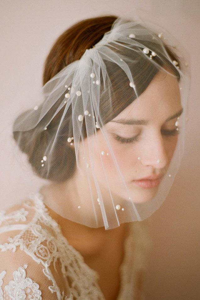 voile de mariage en tulle appliqué de perles