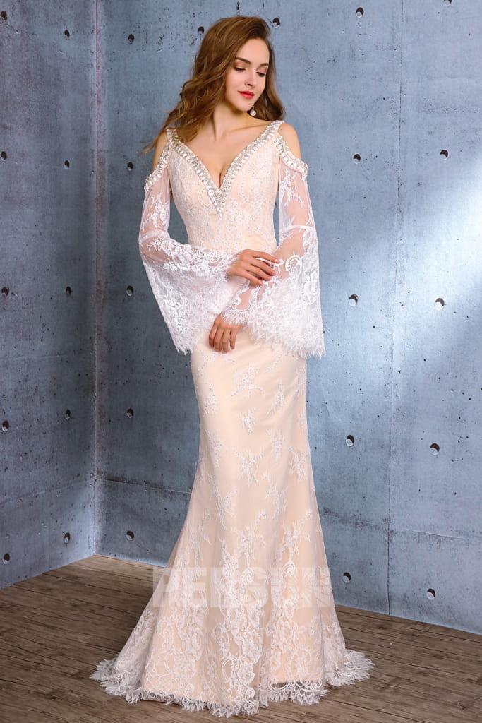 Robe de mariée sexy en dentelle épaules dénudées manches longues évasées