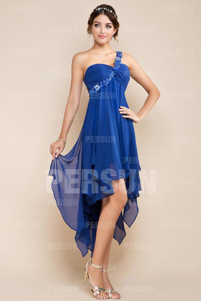 robe cocktail bleu empire asymétique