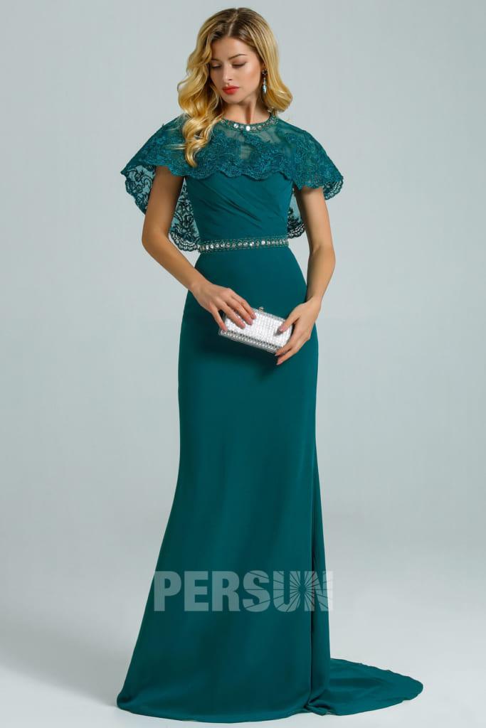 Robe demoiselle d'honneur sirène vert pin bustier coeur avec cape dentelle détachable