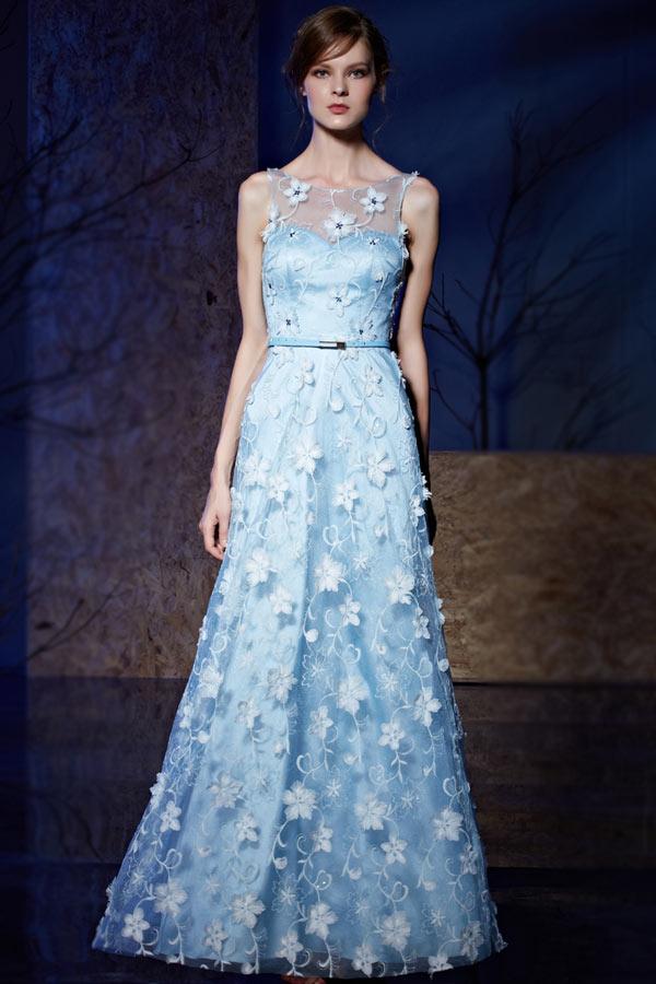 Robe soirée bleu clair florale à top transparent