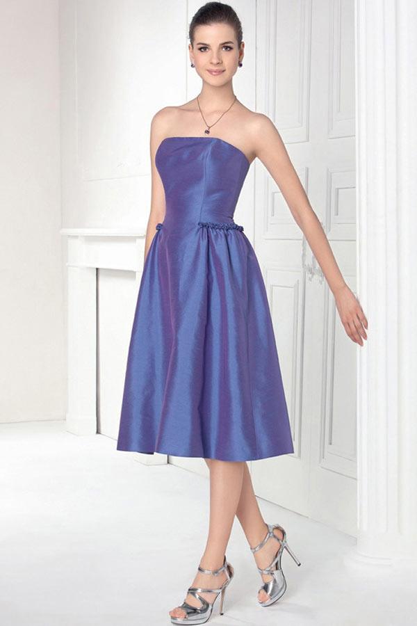 Robe simple bleu violette mi longue en taffetas