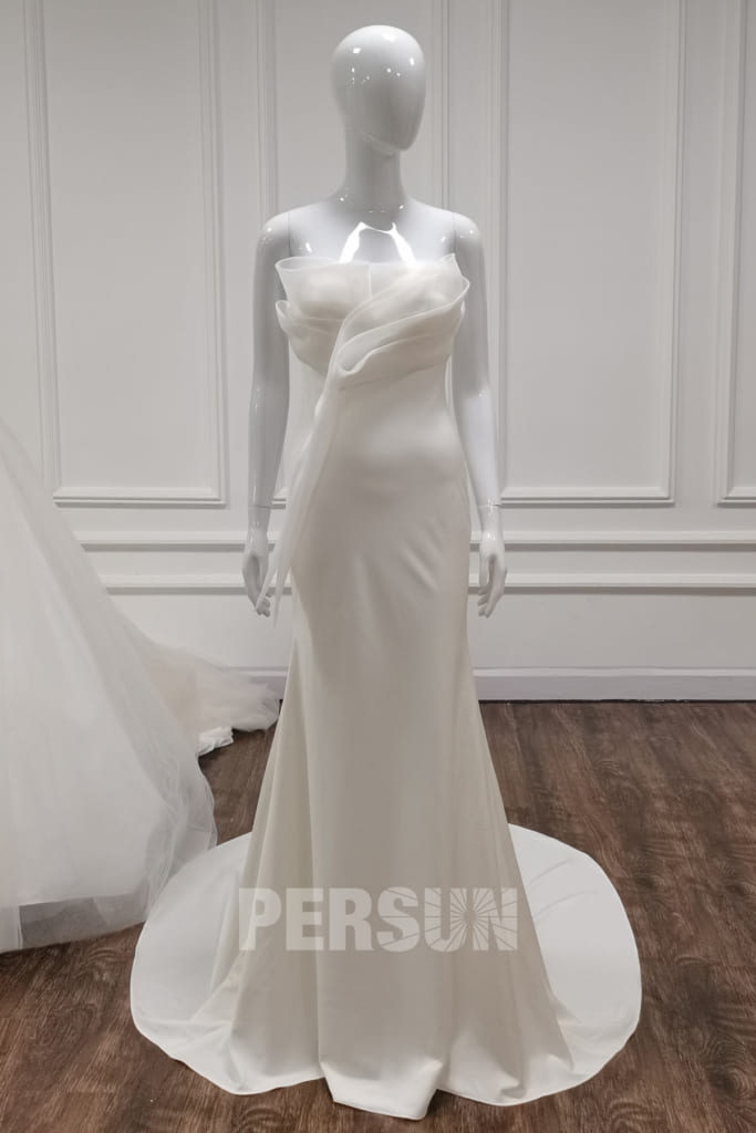 robe de mariée élélgante bustier drapé minimalisme crêpe ivoire moulante