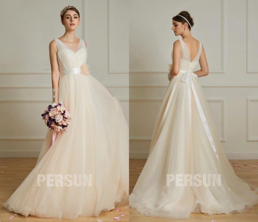 Robe de mariée champagne clair cache coeur ceinture fleurie avec petite traîne